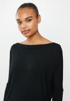 edit - Conscious Wide neck top - black