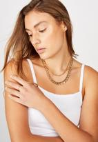 Rubi - Peri double layer chunky chain necklace - gold