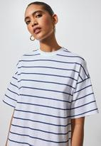 Superbalist - Trapeze pocket detail T-shirt dress - white and navy stripe