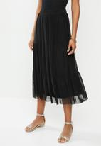 MILLA - Mesh tiered skirt - black