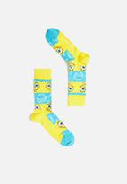 Happy Socks - Sponge bob say cheese burger sock - yellow & blue
