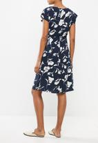 Cherry Melon - Floral maternity dress - navy & neutral