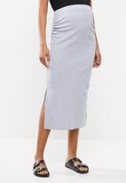 Missguided - Maternity ribbed split side midi skirt - grey