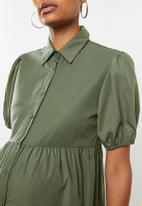 Missguided - Maternity short sleeve poplin button front maxi smock dres - khaki
