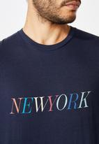 Cotton On - Tbar text T-shirt - navy