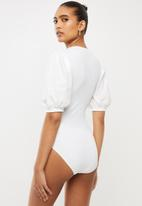 Blake - Ribbed bodysuit with cotton sleeves-ivory