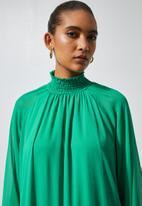 Superbalist - Hi neck shirred maxi dress - green