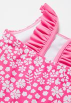POP CANDY - Stripe one piece shoulder frill detail swimsuit - pink & white