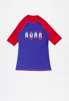 Rebel Republic - Printed rash vest - blue & red