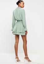 Missguided - High neck shirred waist dress polka - sage