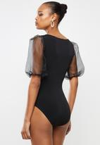 MILLA - Organza sleeve bodysuit - black