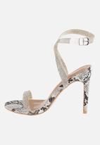 Sissy Boy - Snake a risk heel with diamante strap - black & white