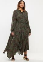 edit Plus - Hanky hem shirt dress - khaki & brown