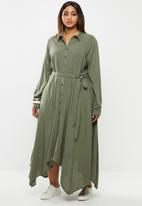 edit Plus - Hanky hem shirt dress - olive