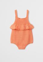 MANGO - Organic cotton ruffled one-piece suit - orange