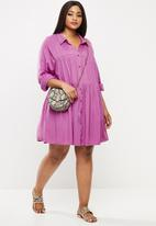 Glamorous - Plus tiered long sleeve dress - orchid