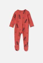 Cotton On - The long sleeve zip romper - red brick/penguin astronaut