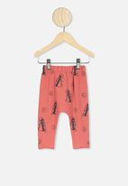Cotton On - The legging - red brick/penguin astronaut