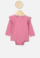 Cotton On - The long sleeve ruffle bubbysuit - pink