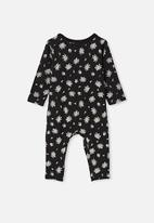 Cotton On - The long sleeve snap romper - black/olivia white floral