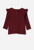 Cotton On - Cindy long sleeve pointelle top - burgundy