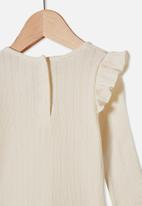Cotton On - Cindy long sleeve pointelle top - beige