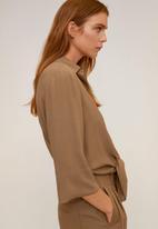 MANGO - Shirt leasle - brown