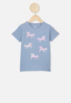 Cotton On - Stevie short sleeve  embellished tee - blue & pink