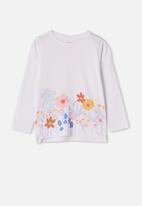 Cotton On - Penelope long sleeve tee  - white/flower garden
