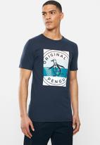 Original Penguin - Stripey box stamp T-shirt - navy