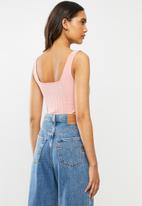 Cotton On - Gina square neck rib tank top - pink