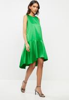 VELVET - Ducchess satin dropped waist sleeveless dress - green