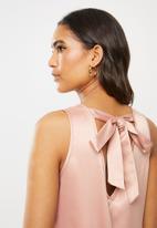 VELVET - Ducchess satin dropped waist sleeveless dress - dusty pink