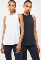 Cotton On - Active curve hem tank top 2pack - white & navy