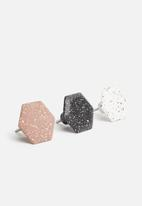 Sixth Floor - Terrazzo hexagon hooks set of 3 - multi