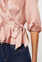 MILLA - Satin wrap blouse - ash rose