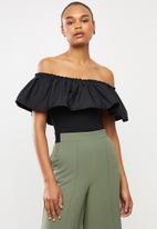MILLA - Bardot overlay bodysuit - black