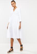 MILLA - Cotton tiered dress - white