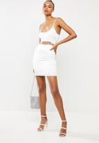 Missguided - Diamante lace satin cut out mini dress - white
