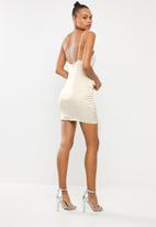 Missguided - Stretch satin lace up mini dress - silver