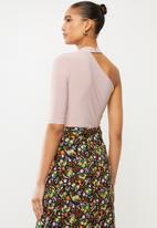Blake - Asymmetric bodysuit with turtleneck - pink
