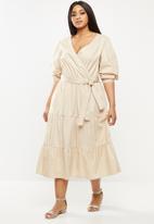 MILLA - Poplin tiered midi dress - neutral