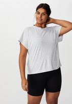Cotton On - Curve active drop sleeve tie back T-shirt - grey