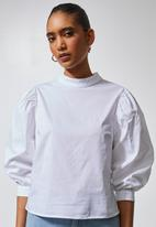 Superbalist - High neck puff sleeve blouse - white