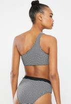 Missguided - Gingham one shoulder bikini top - black & white