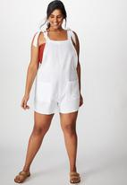Cotton On - Curve tie up beach playsuit - white