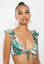 Missguided - Floral frill tie front top - multi