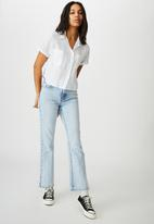 Cotton On - Erika short sleeve shirt - sienna stripe/chambray blue