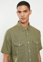 Brave Soul - Obelisk linen blend shirt - khaki
