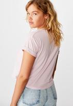 Factorie - Curved hem short sleeve tee - pink